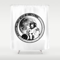 Space Monkeys Black & Wh… Shower Curtain