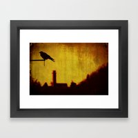 Crow and castle with music sheet Framed Art Print