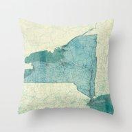New York Map Blue Vintag… Throw Pillow