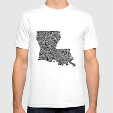 Typographic Louisiana White Mens Fitted Tee SMALL