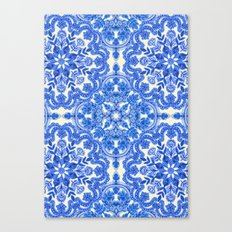 Cobalt Blue & China White Folk Art Pattern Canvas Print
