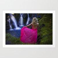 Lady at waterfall Art Print