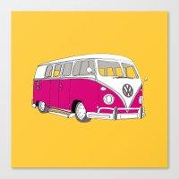 Retro Camper Van // Yellow and Pink Canvas Print