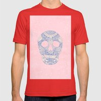 Modern blue ornate skull floral lace mandala illustration pink watercolor Mens Fitted Tee Red SMALL