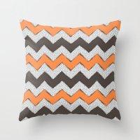Zigzag - Grey & Orange Throw Pillow