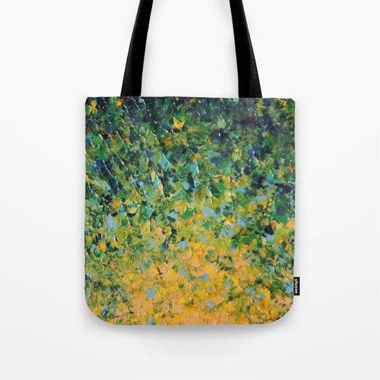 IRISH SUNRISE - Beautiful BOLD Lime Kelly Forest Green Sunrise Sunset Abstract Nature Painting Tote Bag