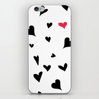Black Hearts With One Pi… iPhone & iPod Skin