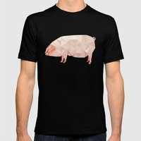 Geometric Pig Mens Fitted Tee Black SMALL