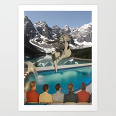 Poolside Olympics Art Print