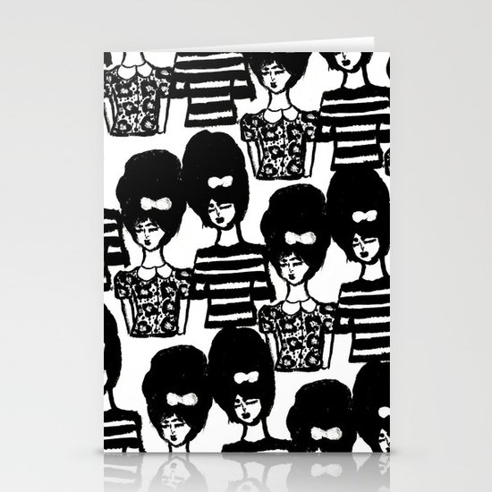 Bouffant Girls Stationery Card