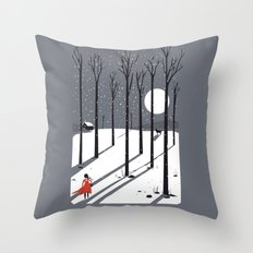 little red cap Throw Pillow