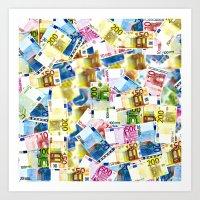 Colorful Euros Pattern Art Print