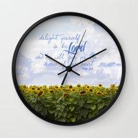 Sunflower Delight - Psal… Wall Clock