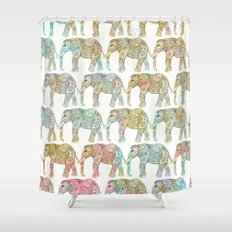 Whimsical Ethnic Floral Paisley Elephants Pattern Shower Curtain