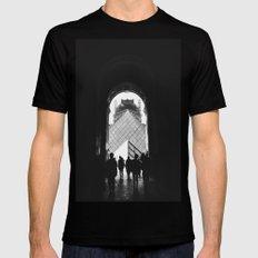 Through to Louvre (b&w) Mens Fitted Tee SMALL Black