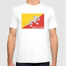 Bhutan country flag name text Mens Fitted Tee SMALL White