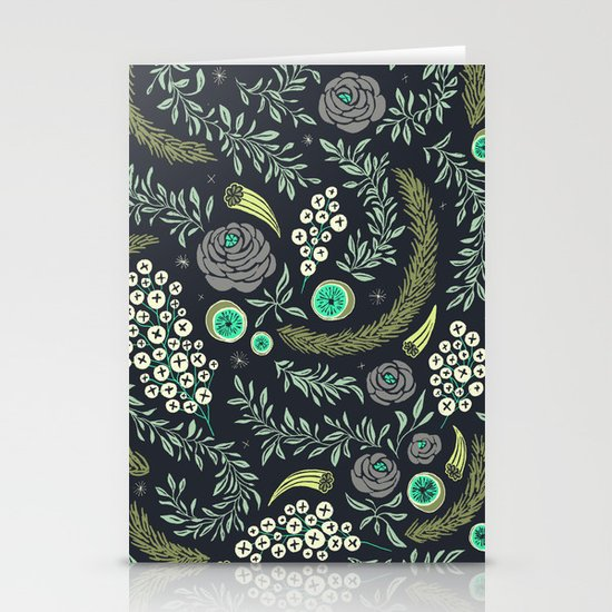 Winter's Eve Floral Stationery Card