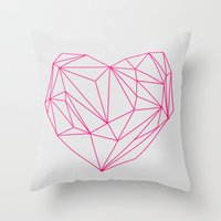 Heart Graphic Neon Versi… Throw Pillow