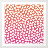 White Hearts On Pink-Ora… Art Print