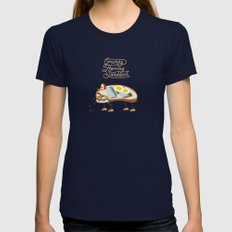 Grumpy Herring Sandwich Womens Fitted Tee Navy SMALL