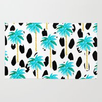 Palm Trees And Dots Rug