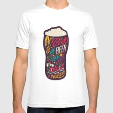 A pint of beer a day. Keeps the doctor away. White SMALL Mens Fitted Tee