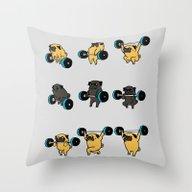 OLYMPIC LIFTING PUGS Throw Pillow