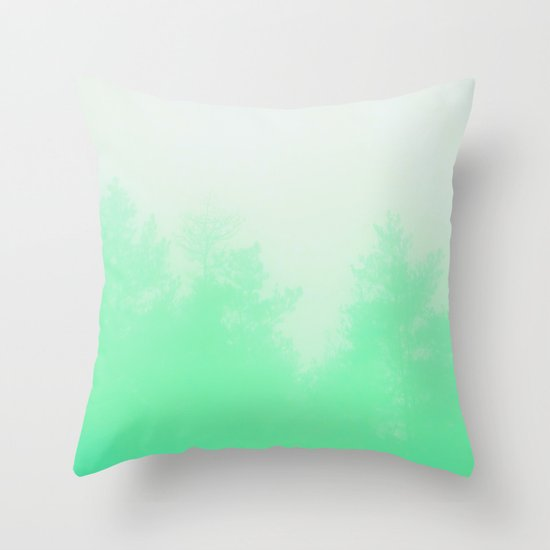 Out of focus - cool green Throw Pillow