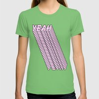 YEAH Typography Pink Blue Womens Fitted Tee Grass SMALL
