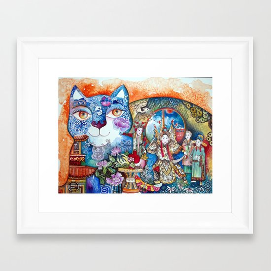 China cat Framed Art Print