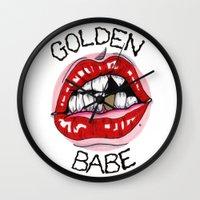 Golden Babe Wall Clock