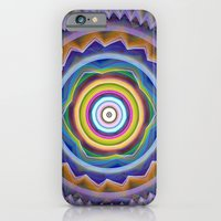 iPhone Cases featuring Colourful Zigzags and circles mandala by thea walstra