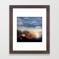 Winter Silhouette Sunset Framed Art Print