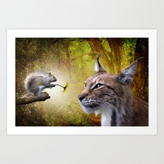 Canadian Lnx and Squirrel Art Print