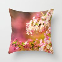 Pretty and Pink crab apple blossoms Throw Pillow