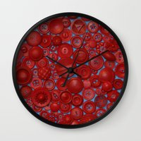 Red Buttons Wall Clock