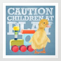 A Duckling With A Wood C… Art Print