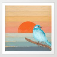 Blue Bird By The Water Art Print