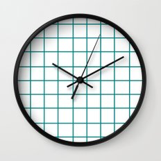 Grid (Teal/White) Wall Clock