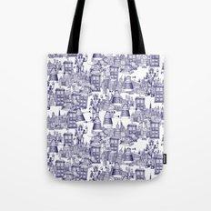 Doctor Who Toile de Jouy   'Walking Doodle'   Blue Tote Bag