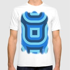 Blue Truchet Pattern Mens Fitted Tee SMALL White