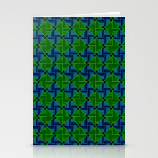 Green Parquet Stationery Card