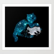 Art Print featuring I Can Haz The Moon by Budi Kwan