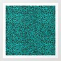 Neon Turquoise Leopard Art Print