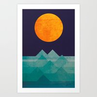sun Art Prints featuring The ocean, the sea, the wave - night scene by Picomodi