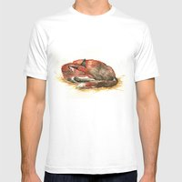 Sleeping Fox Watercolor Mens Fitted Tee White SMALL
