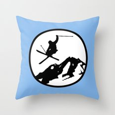 Skiing Throw Pillow