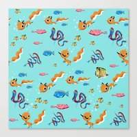 Fox Tales - A Tropical Swim Canvas Print