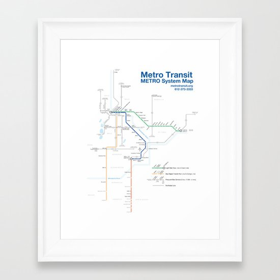 Twin Cities METRO System Map Framed Art Print
