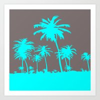 Turquoise Palm Trees Art Print